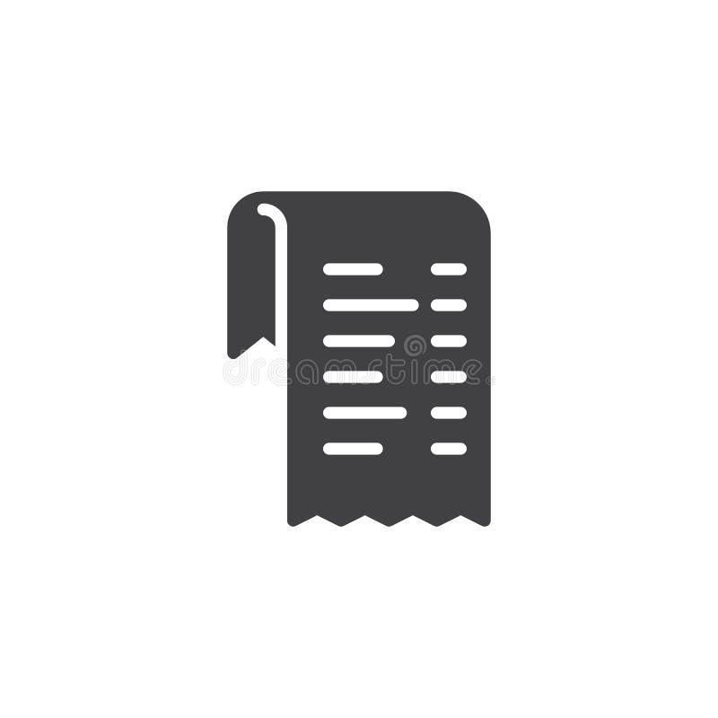 Icono del vector de la lista de la factura stock de ilustración