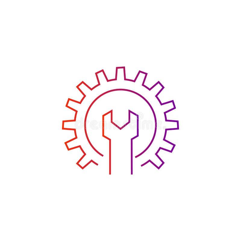 Icono del vector de la llave y del engranaje ilustración del vector