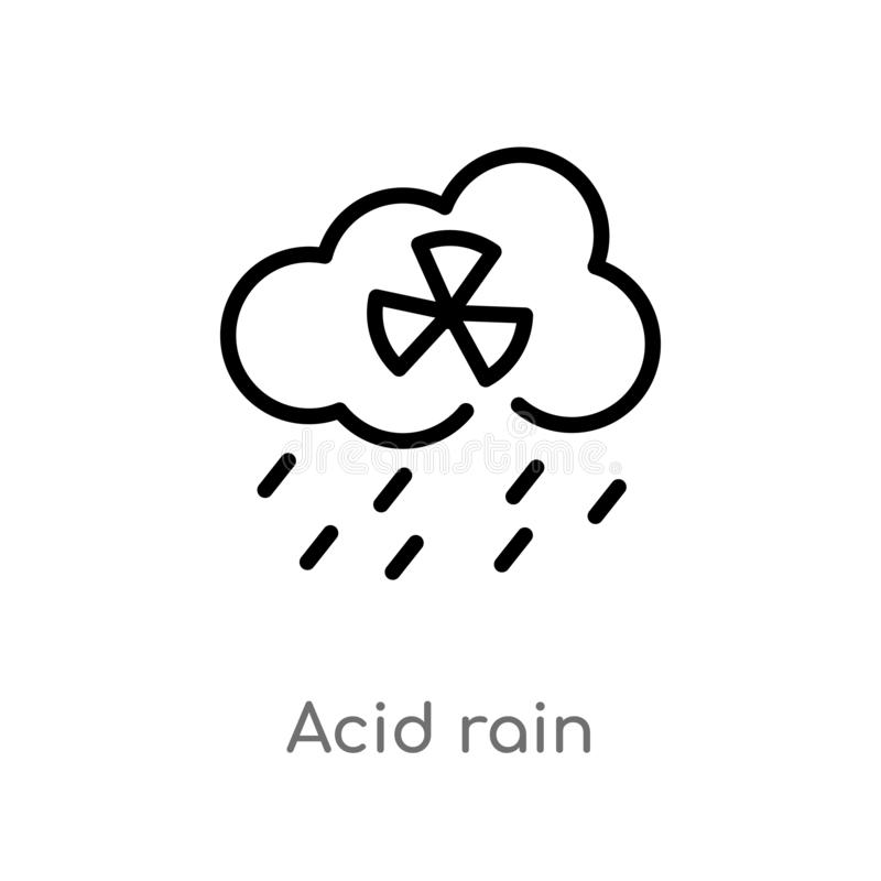 icono del vector de la lluvia ácida del esquema línea simple negra aislada ejemplo del elemento del concepto de la ecología y del libre illustration