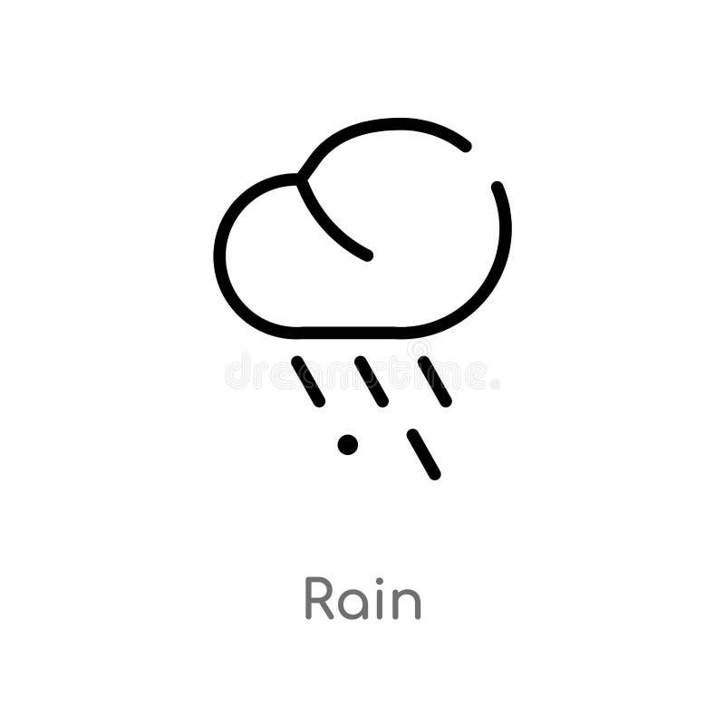 icono del vector de la lluvia del esquema l?nea simple negra aislada ejemplo del elemento del concepto del oto?o icono editable d stock de ilustración