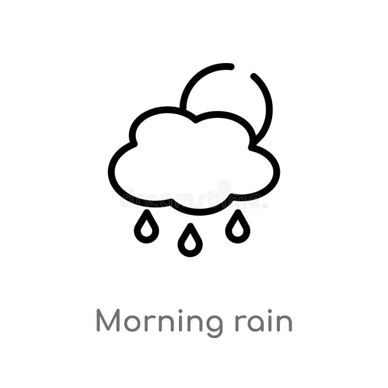 icono del vector de la lluvia de la mañana del esquema línea simple negra aislada ejemplo del elemento del concepto del tiempo Mo libre illustration