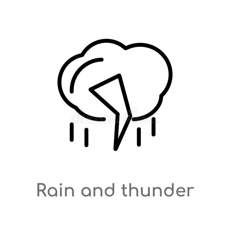 icono del vector de la lluvia y del trueno del esquema l?nea simple negra aislada ejemplo del elemento del concepto de la meteoro ilustración del vector