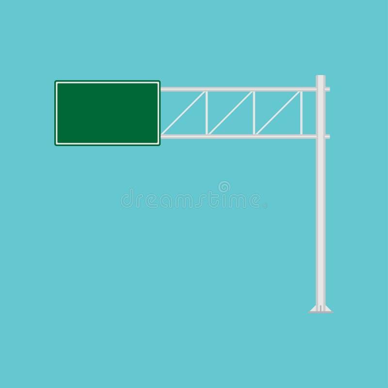 Icono del vector de la manera de la dirección del verde de la señal de tráfico de la autopista sin peaje Escudo de un estado a ot libre illustration