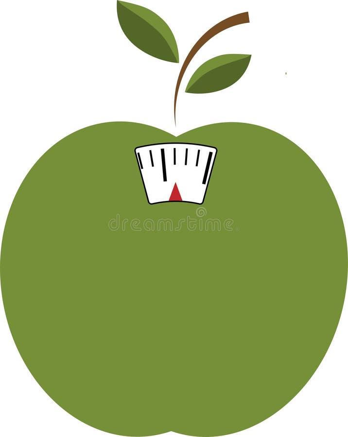 Icono del vector de la manzana verde con la escala Pérdida de peso o concepto de la dieta ilustración del vector