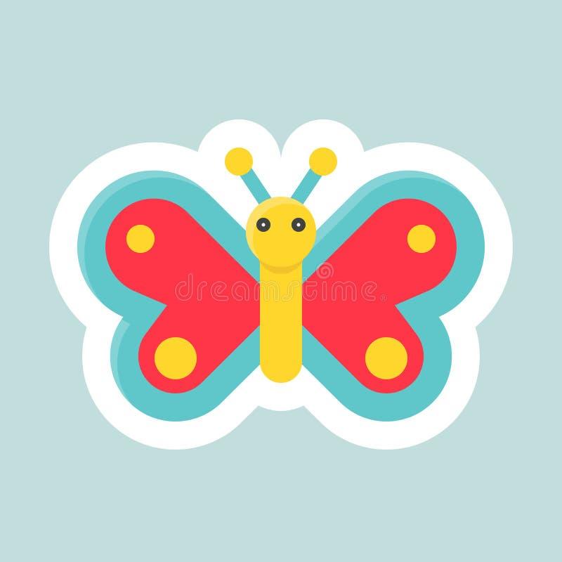 Icono del vector de la mariposa, Pascua y etiqueta engomada plana de la primavera ilustración del vector