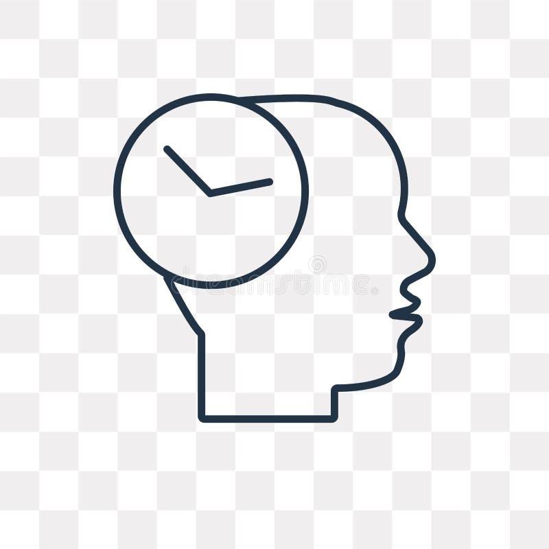 Icono del vector de la mente del tiempo aislado en el fondo transparente, linear stock de ilustración