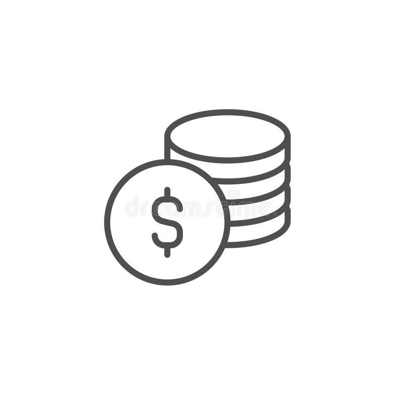 Icono del vector de la moneda del d?lar La reserva del efectivo, gana vende la l?nea muestra del esquema, s?mbolo fino linear, di libre illustration