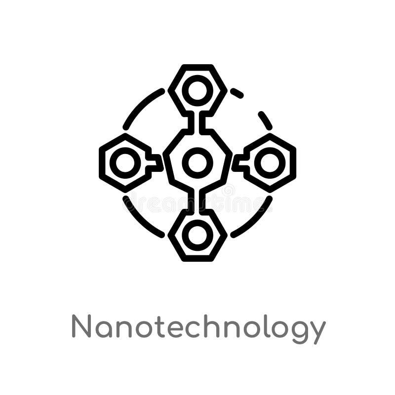 icono del vector de la nanotecnología del esquema línea simple negra aislada ejemplo del elemento del concepto futuro de la tecno libre illustration