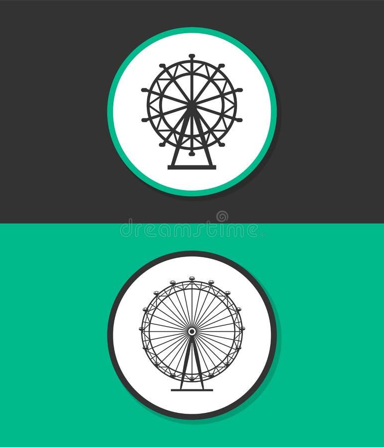 Icono del vector de la noria stock de ilustración