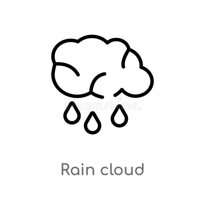 icono del vector de la nube de lluvia del esquema línea simple negra aislada ejemplo del elemento del último concepto de los glyp stock de ilustración