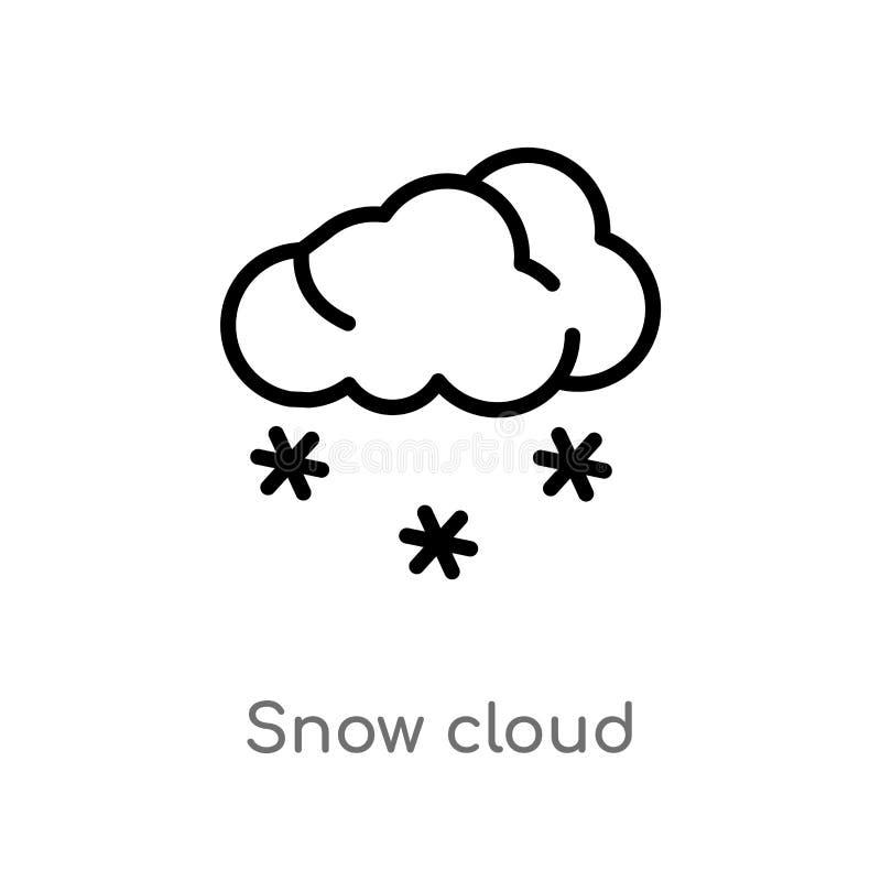 icono del vector de la nube de la nieve del esquema línea simple negra aislada ejemplo del elemento del concepto del tiempo nieve stock de ilustración
