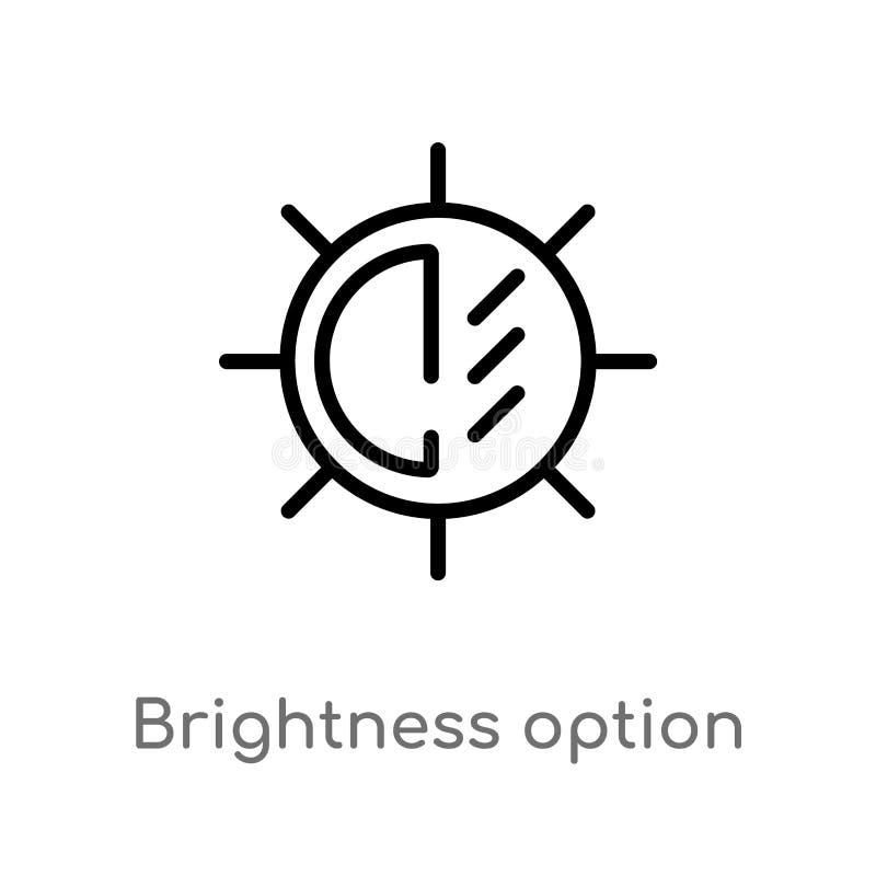 icono del vector de la opción del brillo del esquema línea simple negra aislada ejemplo del elemento del concepto electrónico del stock de ilustración