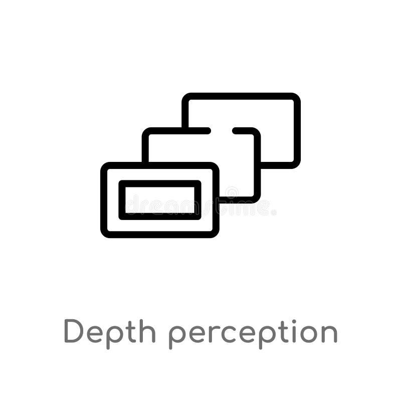icono del vector de la opinión de profundidad del esquema l?nea simple negra aislada ejemplo del elemento del concepto aumentado  stock de ilustración