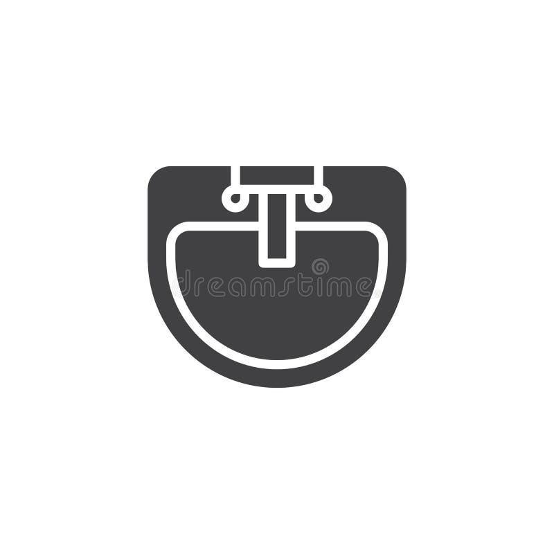Icono del vector de la opinión superior del golpecito del lavabo y de agua ilustración del vector