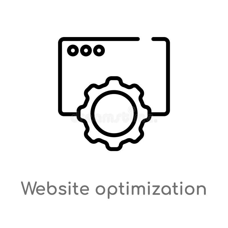 icono del vector de la optimizaci?n de la p?gina web del esquema l?nea simple negra aislada ejemplo del elemento del concepto de  libre illustration
