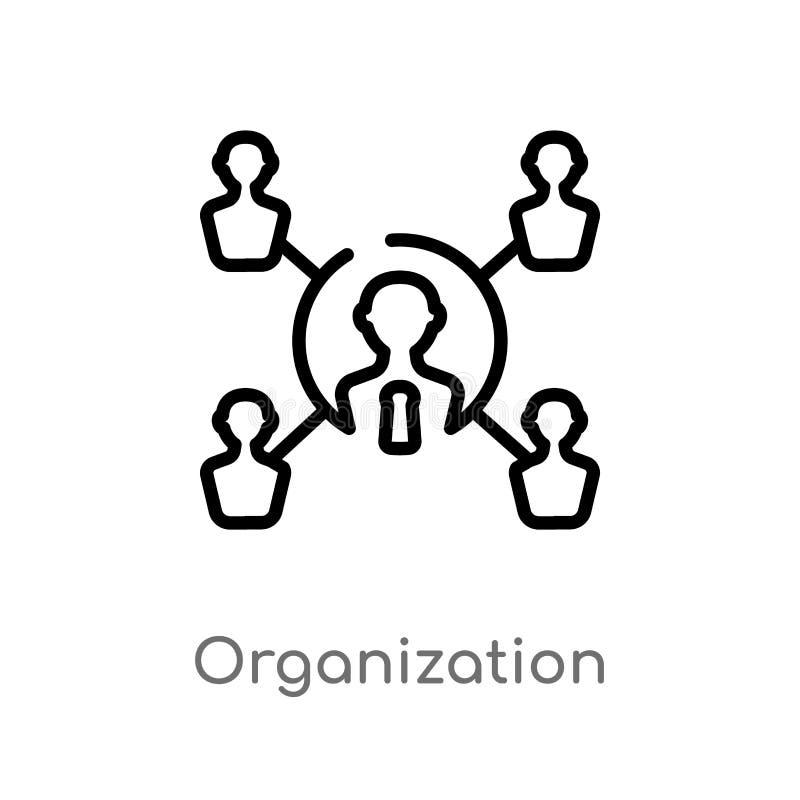 icono del vector de la organización del esquema línea simple negra aislada ejemplo del elemento del concepto digital de la econom ilustración del vector