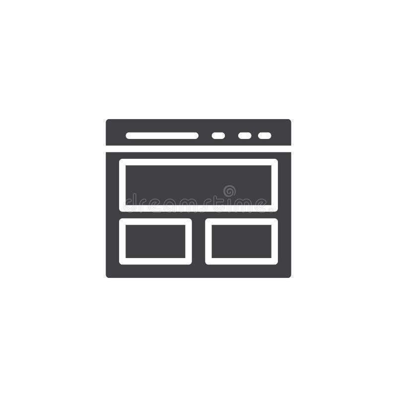 Icono del vector de la página de la página web ilustración del vector