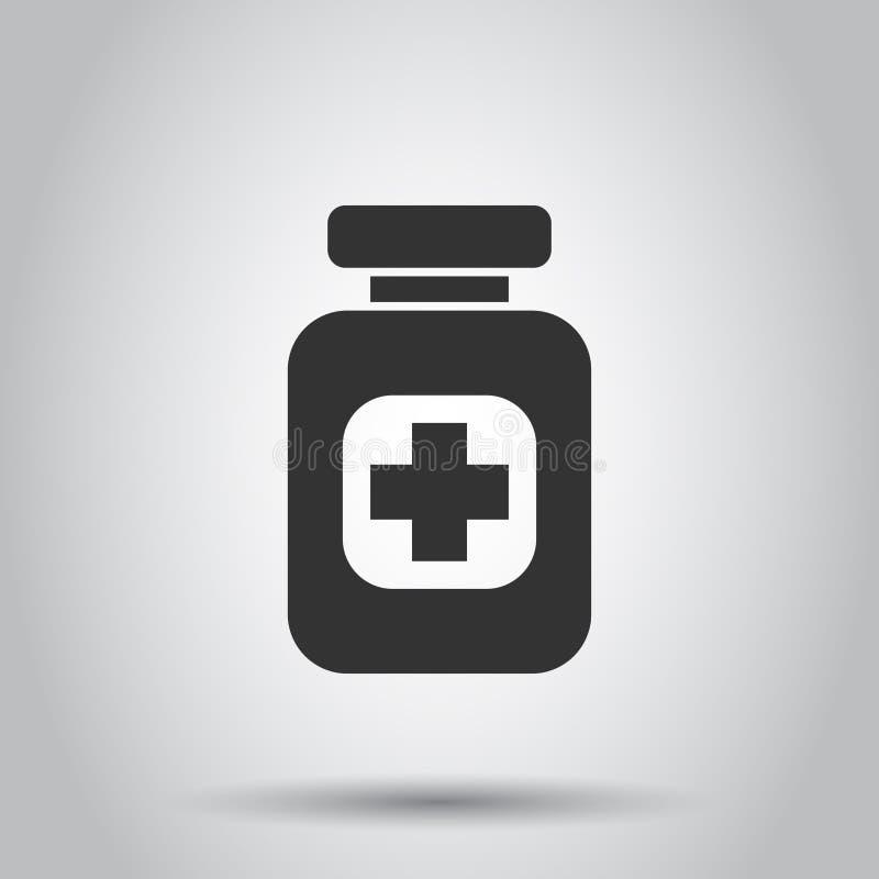 Icono del vector de la píldora en estilo plano Ejemplo de la tableta en el fondo blanco Concepto médico de la botella ilustración del vector