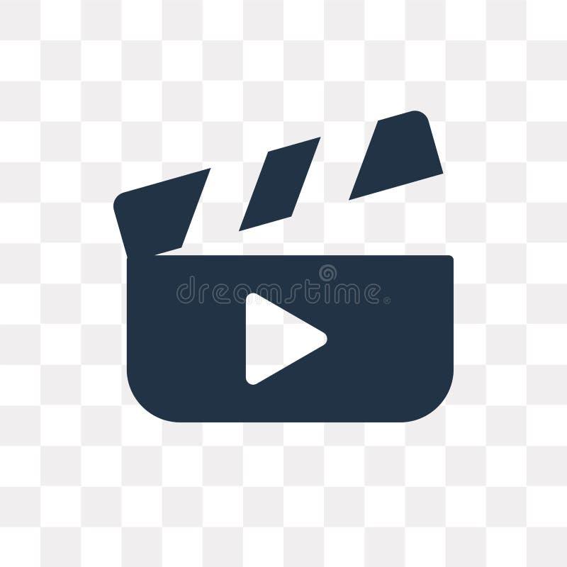 Icono del vector de la película aislado en el fondo transparente, tra de la película ilustración del vector