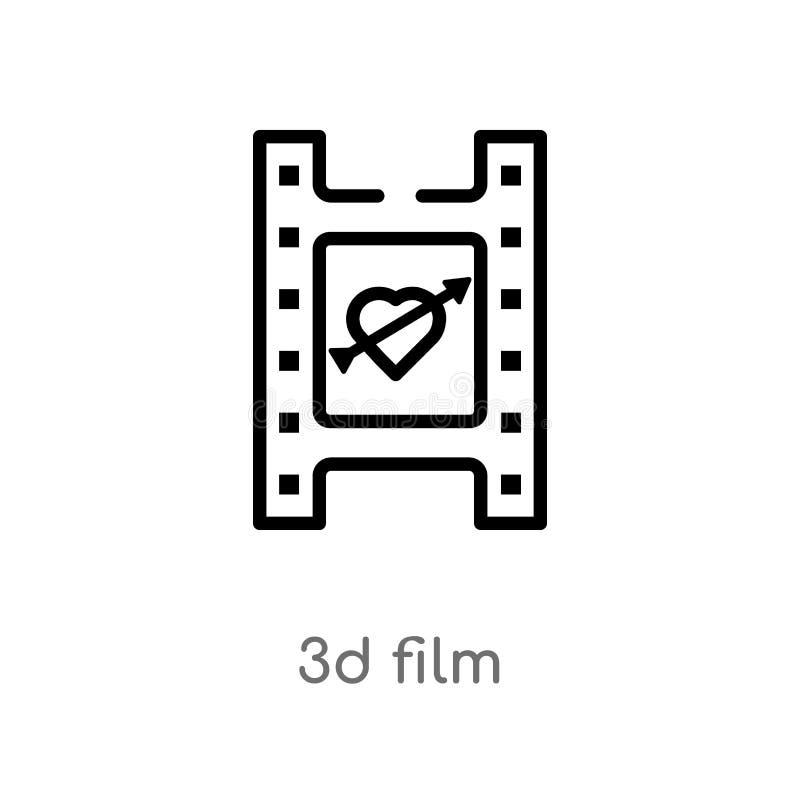 icono del vector de la película del esquema 3d l?nea simple negra aislada ejemplo del elemento del amor y del concepto el casarse ilustración del vector