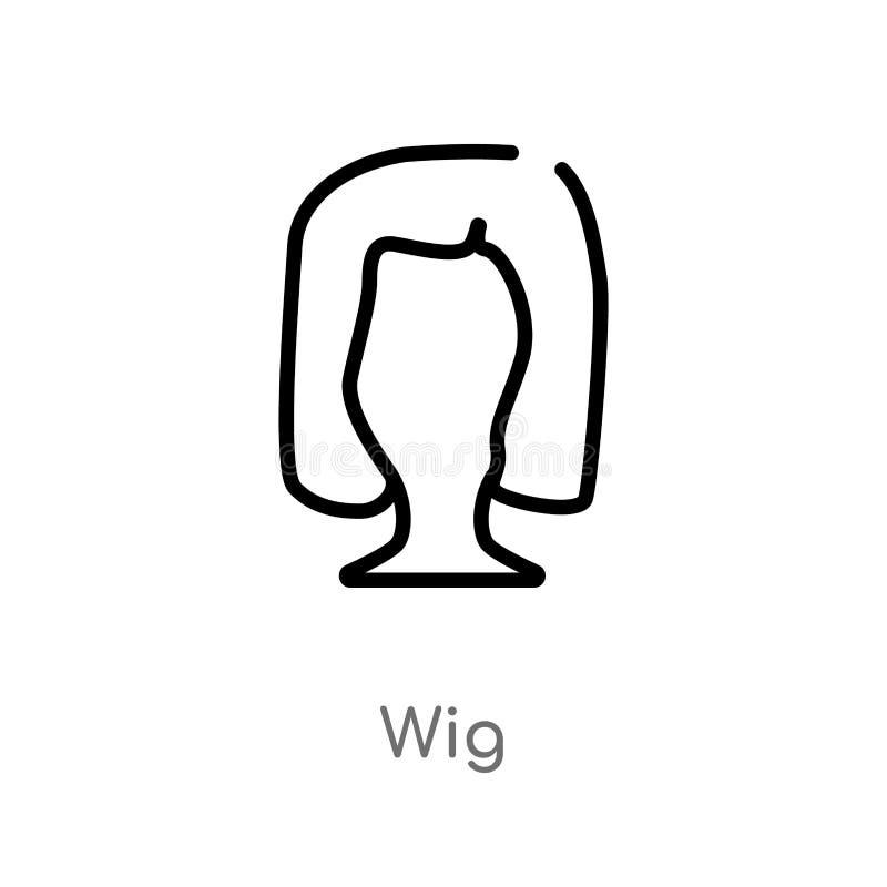 icono del vector de la peluca del esquema l?nea simple negra aislada ejemplo del elemento del concepto de la moda icono editable  stock de ilustración