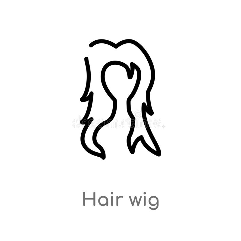 icono del vector de la peluca del pelo del esquema línea simple negra aislada ejemplo del elemento del concepto del usuario peluc libre illustration