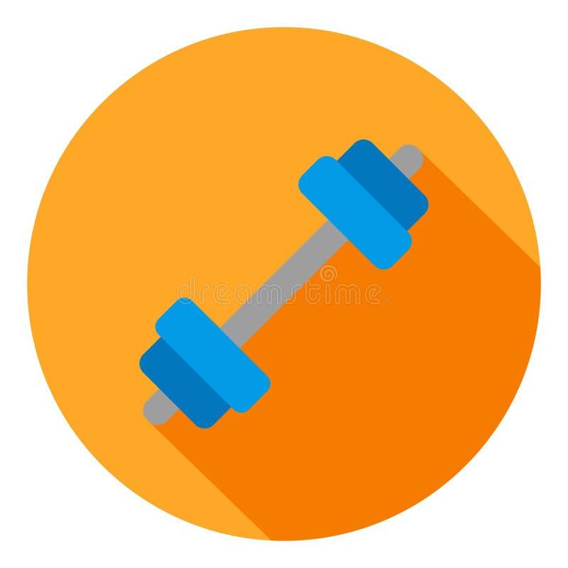 Icono del vector de la pesa de gimnasia, aptitud e icono del gimnasio Icono largo moderno, plano del vector de la sombra stock de ilustración