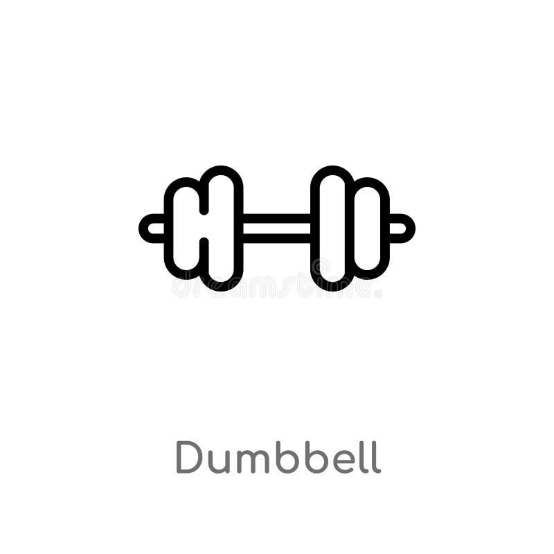 Icono del vector de la pesa de gimnasia del esquema l?nea simple negra aislada ejemplo del elemento del concepto de la salud pesa ilustración del vector