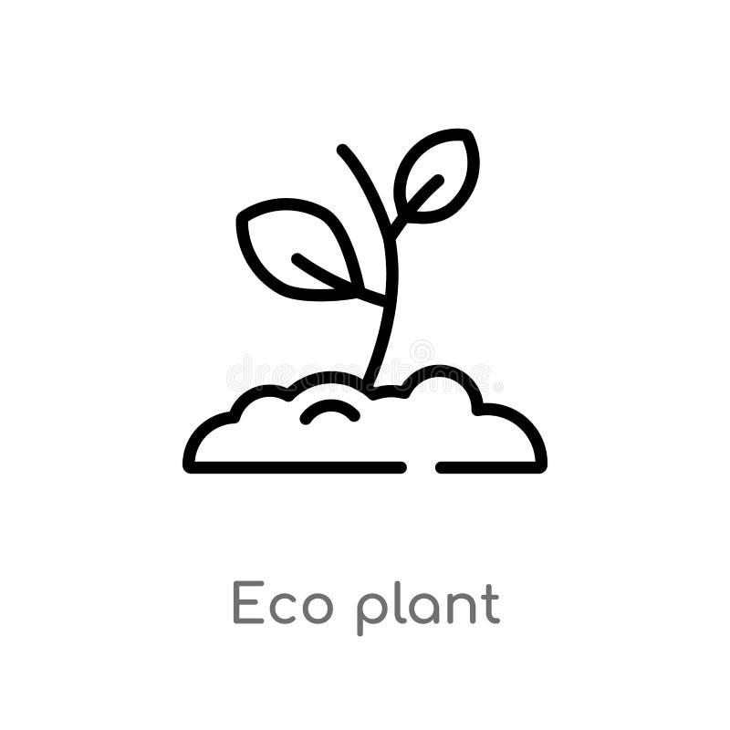 icono del vector de la planta del eco del esquema l?nea simple negra aislada ejemplo del elemento del concepto de la ecolog?a eco libre illustration