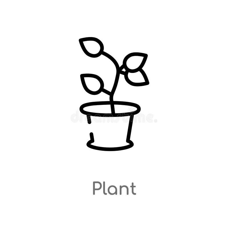 icono del vector de la planta del esquema línea simple negra aislada ejemplo del elemento del concepto de la naturaleza icono edi ilustración del vector