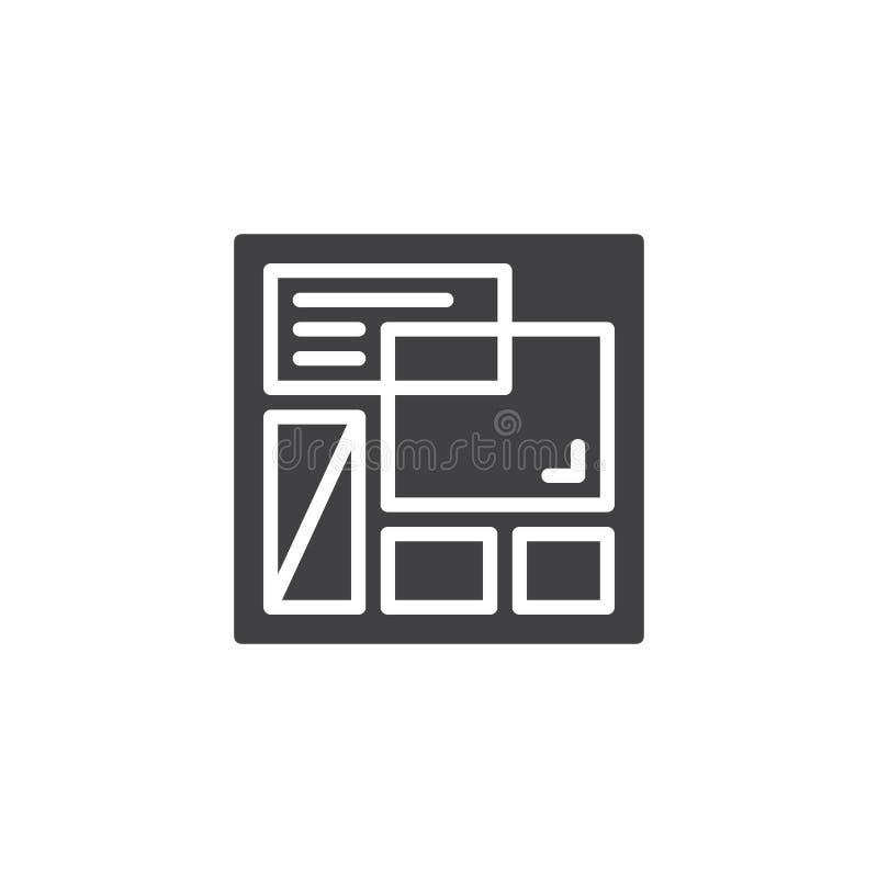 Icono del vector de la plantilla del sitio web stock de ilustración