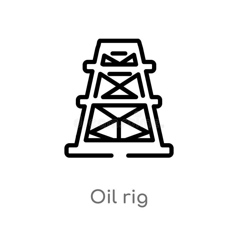 icono del vector de la plataforma petrolera del esquema l?nea simple negra aislada ejemplo del elemento del concepto de la indust stock de ilustración