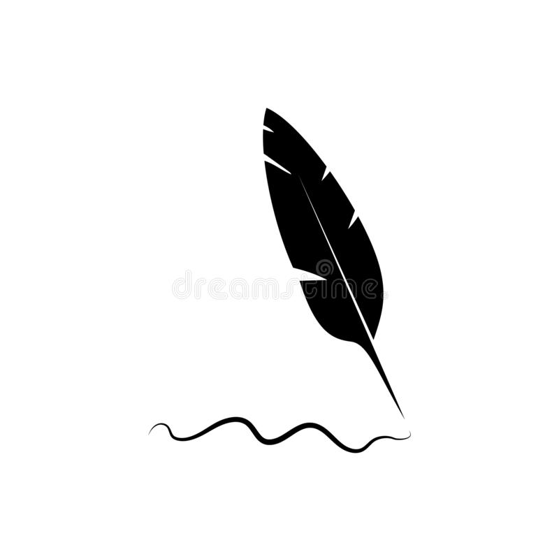 Icono del vector de la pluma de la pluma, tinta ilustración del vector