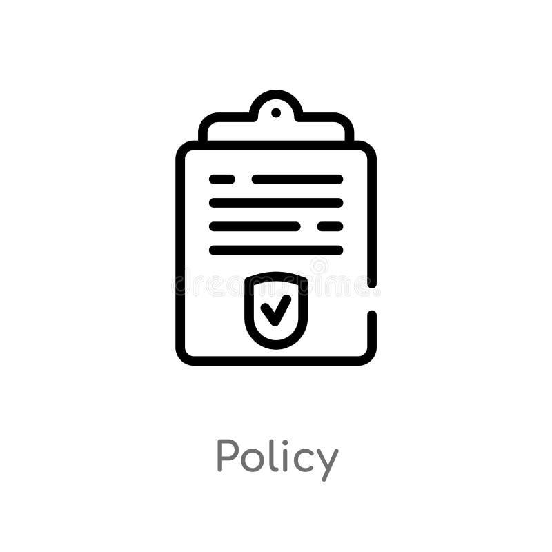 icono del vector de la política del esquema línea simple negra aislada ejemplo del elemento del concepto de la ley y de la justic libre illustration