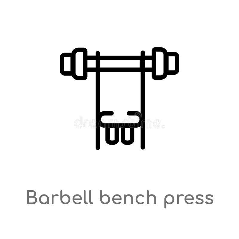 icono del vector de la prensa de banco del barbell del esquema l?nea simple negra aislada ejemplo del elemento del gimnasio y del stock de ilustración