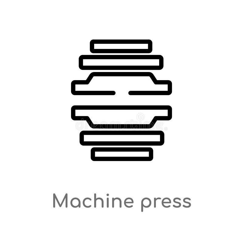 icono del vector de la prensa de la máquina del esquema línea simple negra aislada ejemplo del elemento del concepto de la indust stock de ilustración