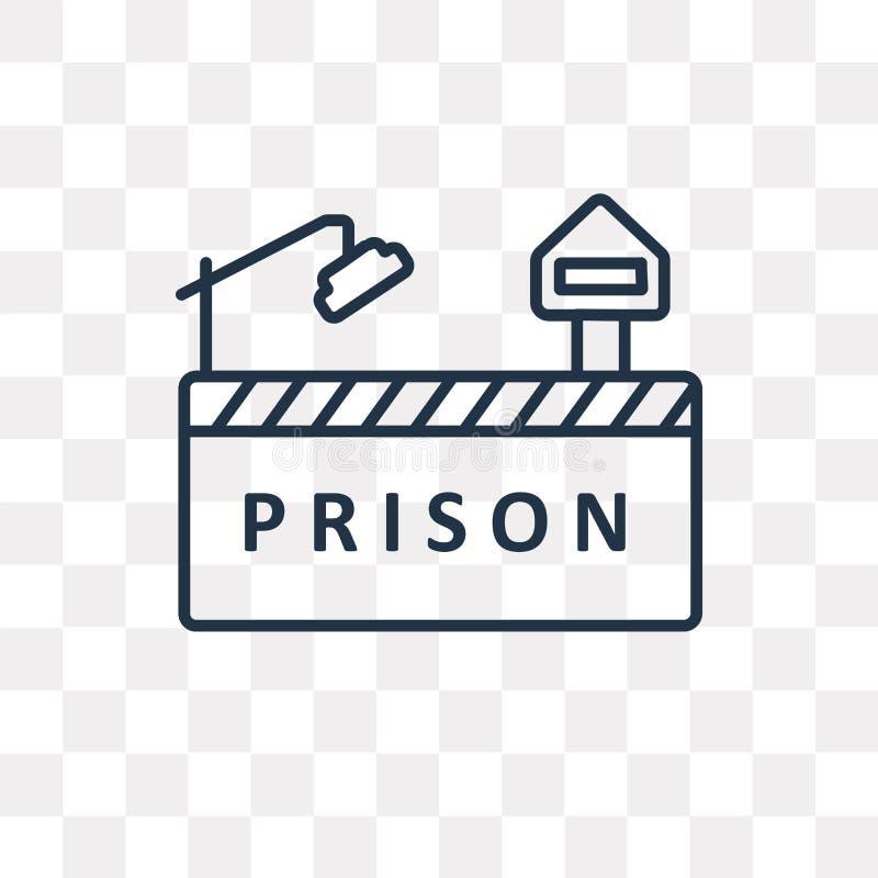 Icono del vector de la prisión aislado en el fondo transparente, RRPP lineares stock de ilustración