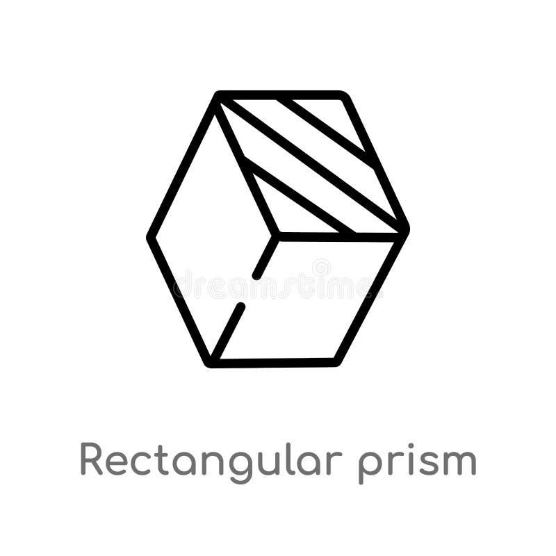 icono del vector de la prisma rectangular del esquema l?nea simple negra aislada ejemplo del elemento del concepto de las formas  stock de ilustración
