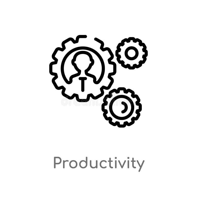 icono del vector de la productividad del esquema línea simple negra aislada ejemplo del elemento del concepto digital de la econo stock de ilustración