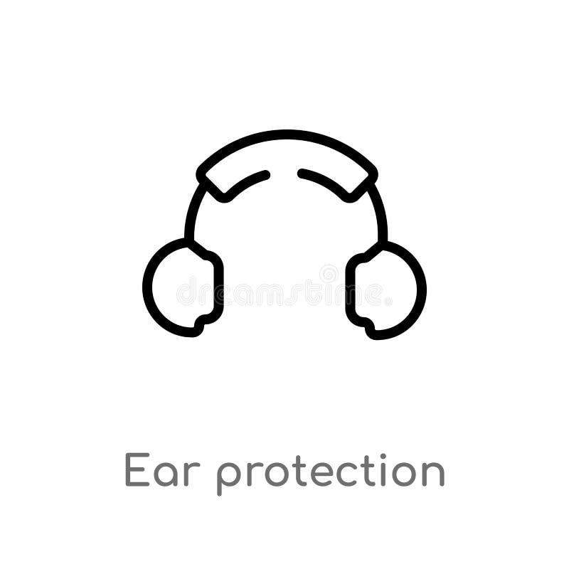 icono del vector de la protección auditiva del esquema l?nea simple negra aislada ejemplo del elemento de mapas y del concepto de ilustración del vector
