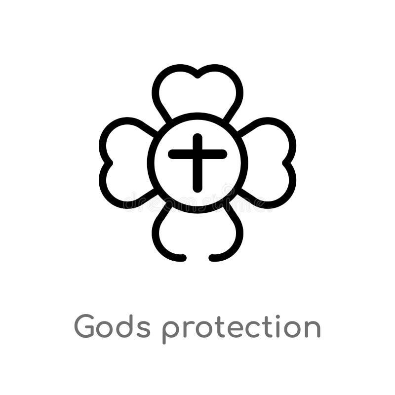 icono del vector de la protecci?n de dioses del esquema l?nea simple negra aislada ejemplo del elemento del concepto del zodiaco  stock de ilustración