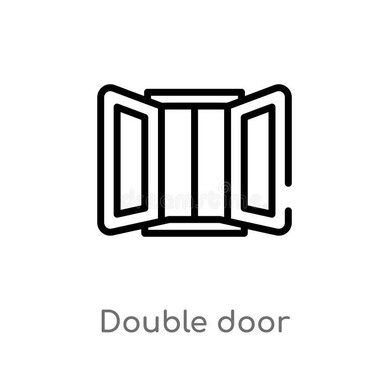icono del vector de la puerta doble del esquema línea simple negra aislada ejemplo del elemento del concepto de los muebles y del stock de ilustración