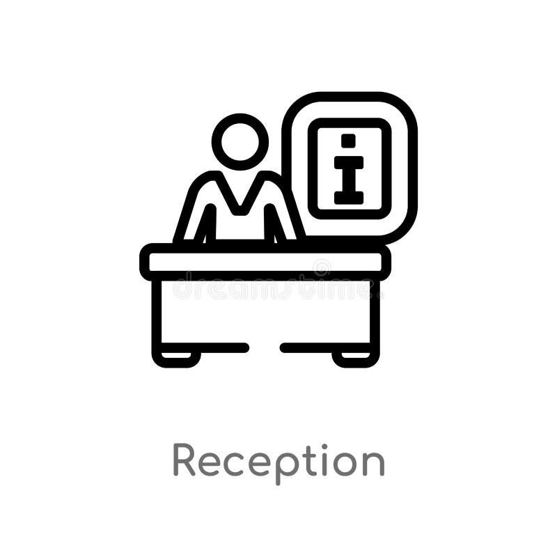 icono del vector de la recepción del esquema línea simple negra aislada ejemplo del elemento del concepto del hotel Movimiento Ed stock de ilustración