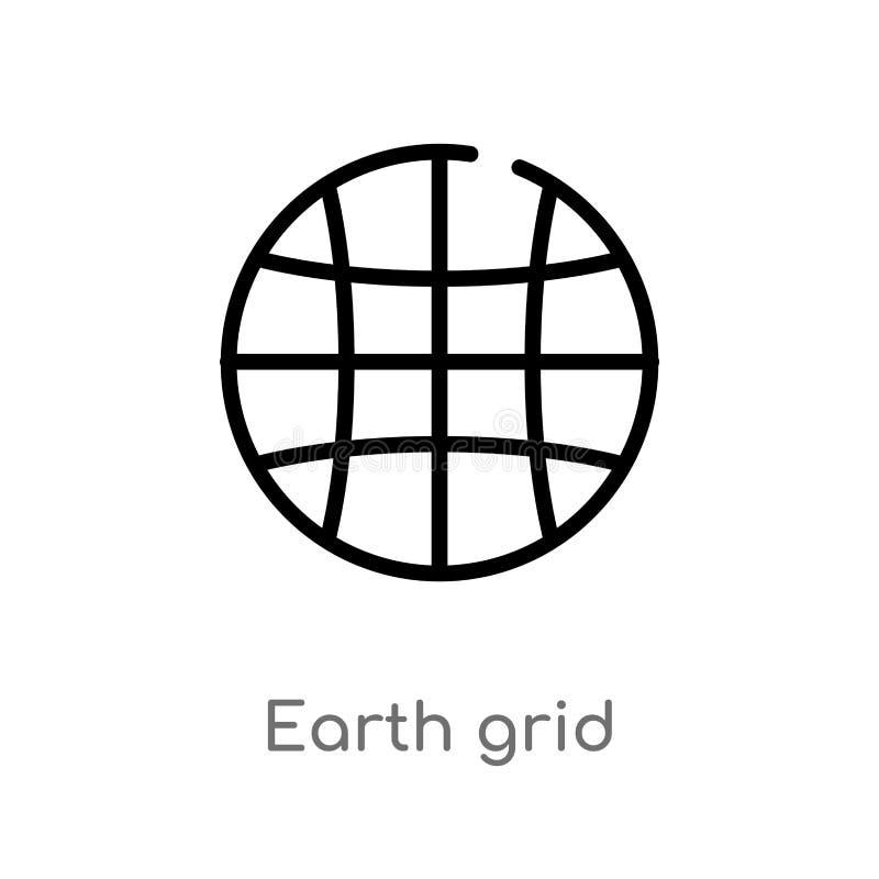 icono del vector de la rejilla de la tierra del esquema línea simple negra aislada ejemplo del elemento de la entrega y del conce libre illustration