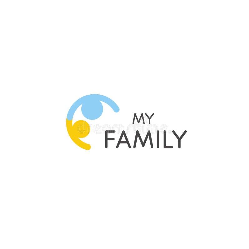 Icono del vector de la relación Un padre y muestra abstracta de los niños Plantilla del logotipo de la familia Símbolo del consej stock de ilustración