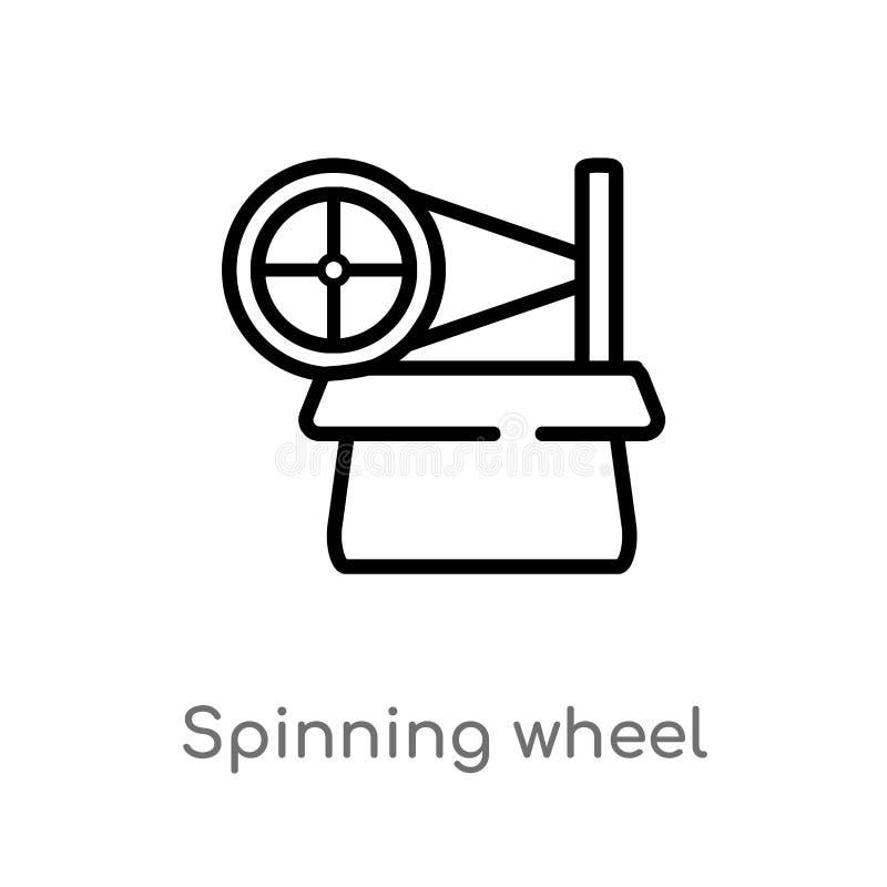 icono del vector de la rueda de hilado del esquema línea simple negra aislada ejemplo del elemento del concepto del entretenimien stock de ilustración