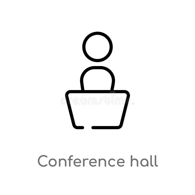 icono del vector de la sala de conferencias del esquema línea simple negra aislada ejemplo del elemento del concepto de la interf stock de ilustración
