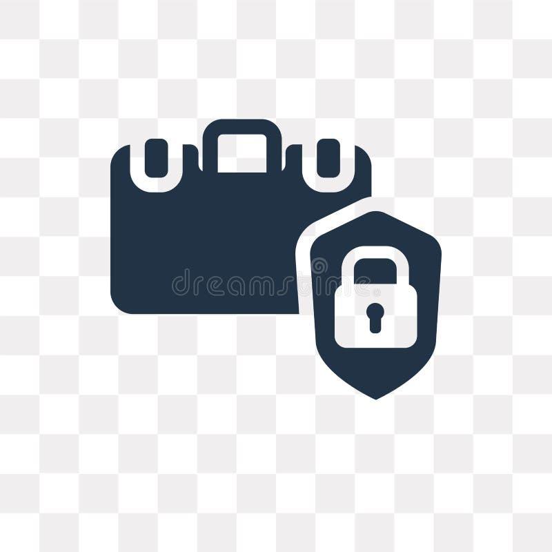 Icono del vector de la seguridad del equipaje aislado en fondo transparente, ilustración del vector