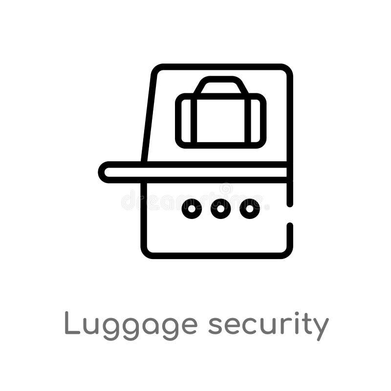 icono del vector de la seguridad del equipaje del esquema línea simple negra aislada ejemplo del elemento del concepto del termin stock de ilustración
