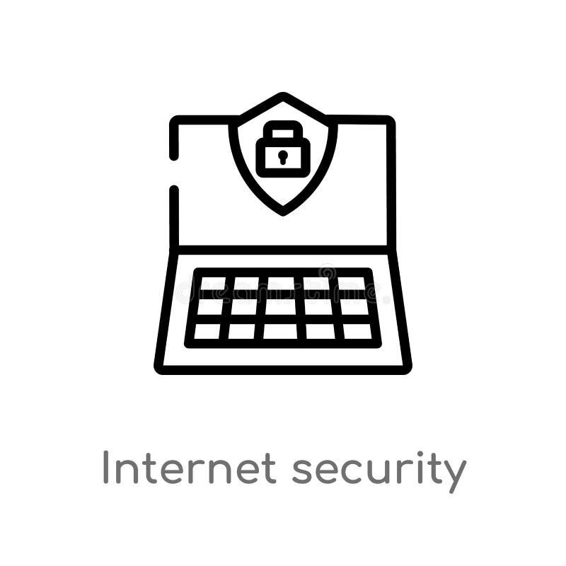 icono del vector de la seguridad de Internet del esquema línea simple negra aislada ejemplo del elemento del último concepto de l stock de ilustración